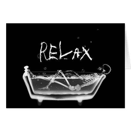 Bath Tub X-Ray Skeleton Black & White Greeting Cards