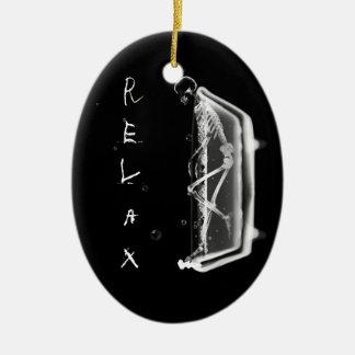 Bath Tub X-Ray Skeleton Black White Ornament