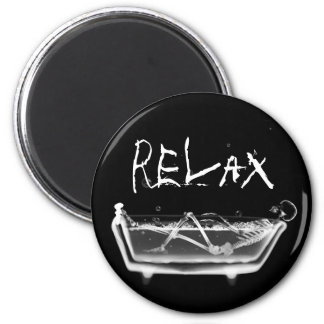 Bath Tub X-Ray Skeleton Black White Fridge Magnet