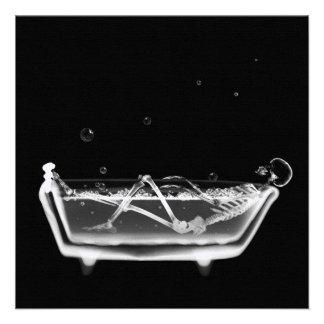 Bath Tub X-Ray Skeleton Black & White Announcement