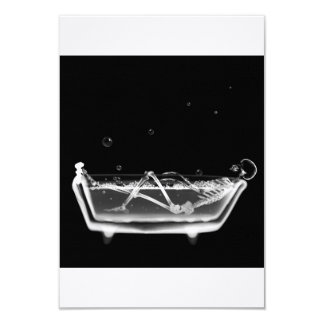 Bath Tub X-Ray Skeleton Black & White 9 Cm X 13 Cm Invitation Card
