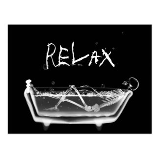 Bath Tub X-Ray Skeleton Black & White Postcard