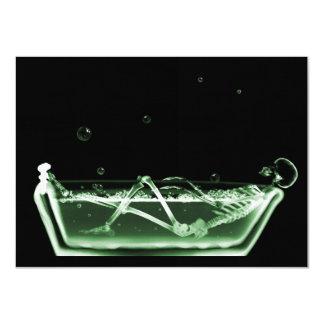 Bath Tub X-Ray Skeleton Green 11 Cm X 16 Cm Invitation Card