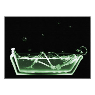 Bath Tub X-Ray Skeleton Green Custom Announcements