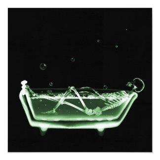 Bath Tub X-Ray Skeleton Green 13 Cm X 13 Cm Square Invitation Card