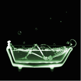 Bath Tub X-Ray Skeleton Green Cut Outs