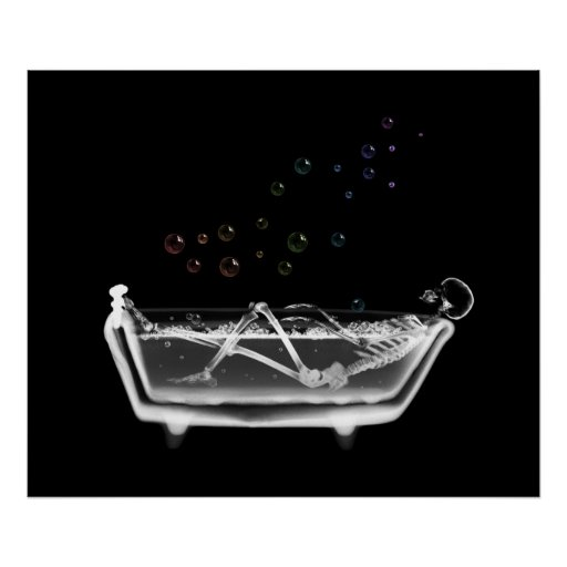 Bath Tub X-Ray Skeleton - Rainbow Bubbles Poster