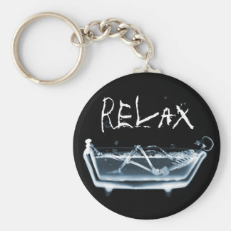 BATH TUB X-RAY VISION SKELETON - BLUE KEY RING