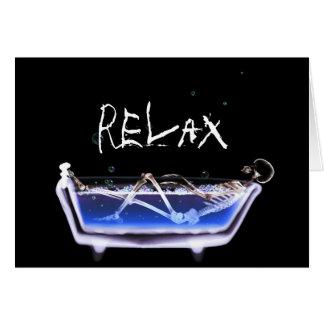 BATH TUB X-RAY VISION SKELETON - ORIGINAL GREETING CARD