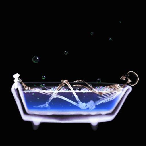 BATH TUB X-RAY VISION SKELETON - ORIGINAL PHOTO CUT OUT