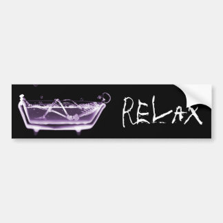 BATH TUB X-RAY VISION SKELETON - PURPLE BUMPER STICKER