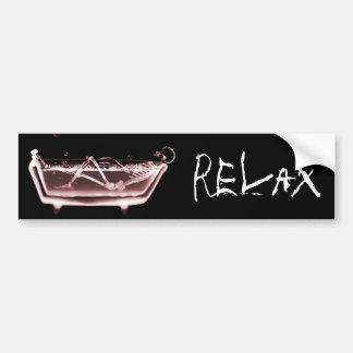 BATH TUB X-RAY VISION SKELETON - RED BUMPER STICKER