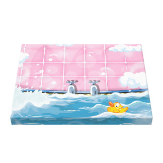 Bath Yellow Duck Stretched Canvas Prints