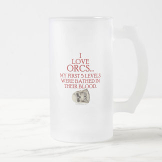 Bathed In Orc Blood Frosted Glass Beer Mug