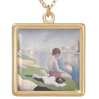 Bathers at Asnières, 1884 (oil on canvas) Gold Plated Necklace