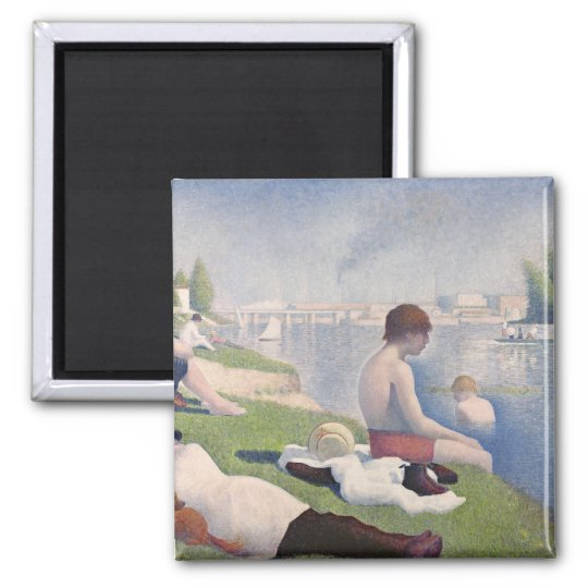 Bathers at Asnières, 1884 (oil on canvas) Square Magnet