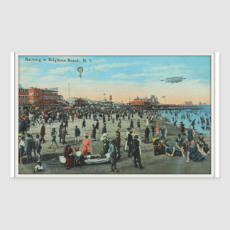 Bathing At Brighton Beach,Brooklyn Century Ago Rectangular Sticker