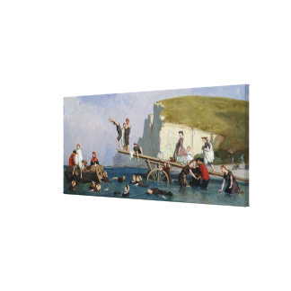 Bathing at Etretat Canvas Print