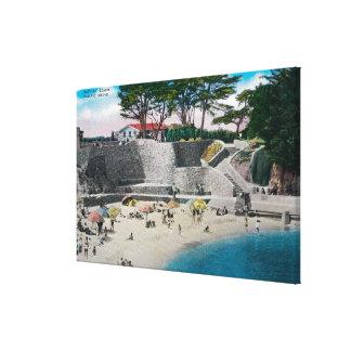 Bathing Beach at Pacific Grove Canvas Print