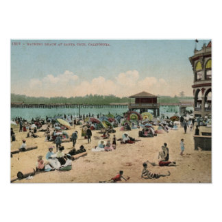 Bathing Beach, Santa Cruz CA Vintage Poster
