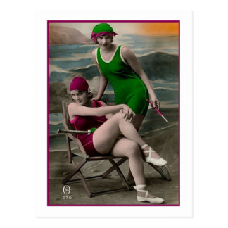 Bathing Beauties in green and raspberry suits Postcard
