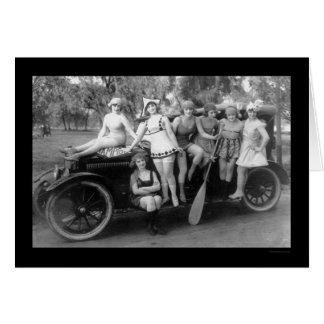 Bathing Beauties on a Car 1919 Greeting Card