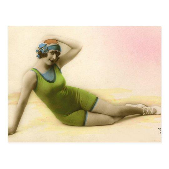 Bathing Beauty in Lime Green Postcard