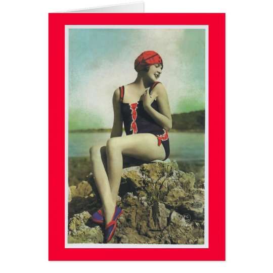 Bathing Beauty Vintage Look Greeting Card