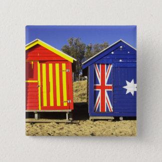 Bathing Boxes, Middle Brighton Beach, Port 2 15 Cm Square Badge