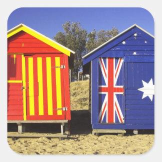 Bathing Boxes, Middle Brighton Beach, Port 2 Square Sticker