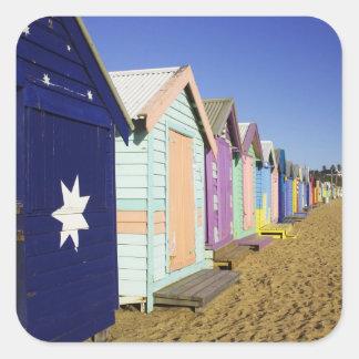 Bathing Boxes, Middle Brighton Beach, Port Square Sticker
