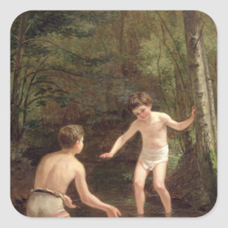 Bathing Boys, 1873 Square Sticker