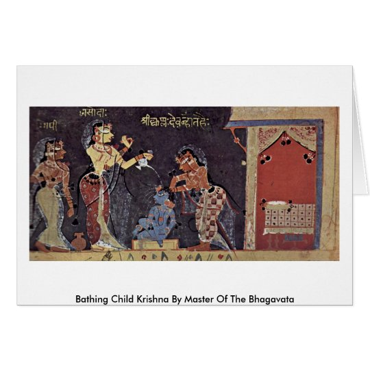 Bathing Child Krishna By Master Of The Bhagavata Card