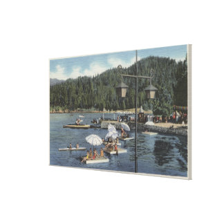 Bathing Floats, Swimmers in Cove Canvas Print