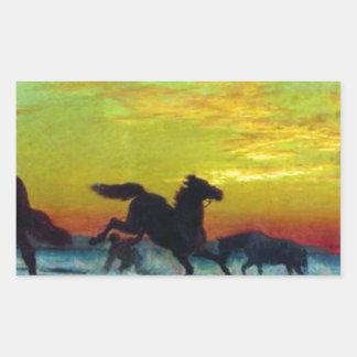 Bathing horses by Volodymyr Orlovsky Rectangular Sticker