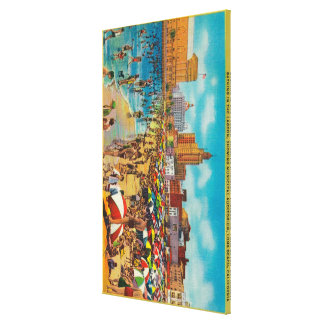 Bathing in the Lagoon, Long Beach Canvas Print