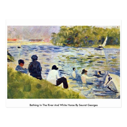 Bathing In The River And White Horse Postcard