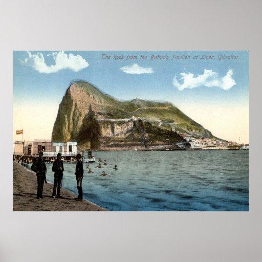Bathing Pavilion, Linea, Rock of Gibraltar Vintage Poster