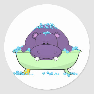Bathing Purple Hippo Round Sticker