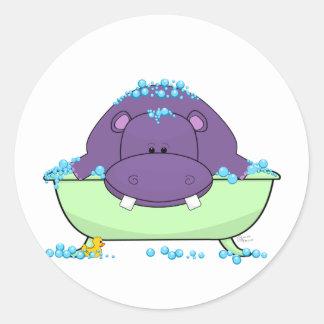 Bathing Purple Hippo Round Sticker