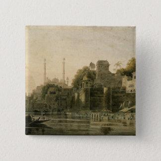 Bathing Scene at the Ghat on the Ganges 15 Cm Square Badge