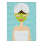 Bathing Spa Woman With A Green Face Mask Poster