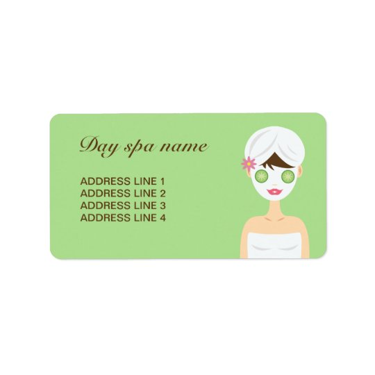 Bathing Spa Woman With A White Face Mask Address Label