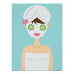 Bathing Spa Woman With A White Face Mask Poster