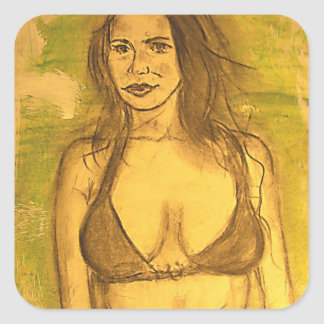 bathing suit girl art sticker