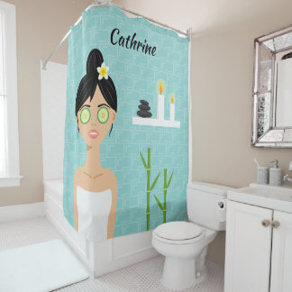 Bathing Woman Spa Woman Illustration & Name Shower Curtain
