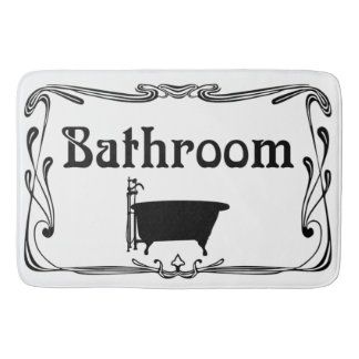Bathmat bathroom vintage tub black white