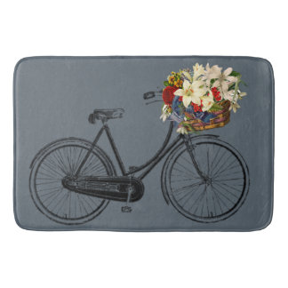 Bathmat bicycle bike flower  grey slate blue bath mats
