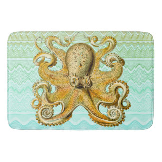 Bathmat Retro  Gold Octopus pastel wave
