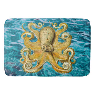 Bathmat Retro  Gold Octopus water